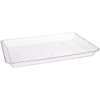 Juego de 6 bandejas de plástico duro para servir (desechables, reutilizables, 23 x