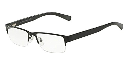 Armani Exchange AX1015 Eyeglass Frames 6070-52 - Satin Black/blk Dk Grey Trans - Prescription Armani Frames