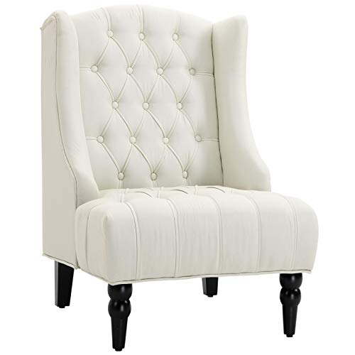 HOMCOM Linen Fabric Button Tufted Tall Wingback Accent Chair with Wooden Legs – Beige