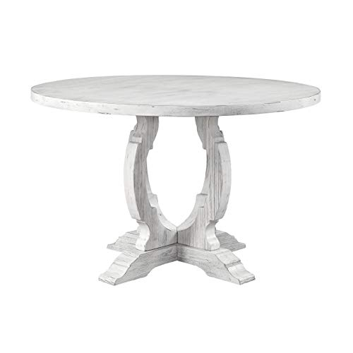 Treasure Trove Orchard Park White Rub Medium Round Dining Table Table Round Dining Antique Oak Wooden Primitive Low Walnut Victorian Svitlife -