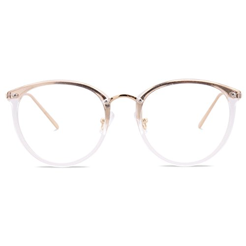 Amomoma Women's Fashion Round Eyeglasses Optical Frame Clear Lens Eyewear AM5001 (C7 Transparent/Gold, -