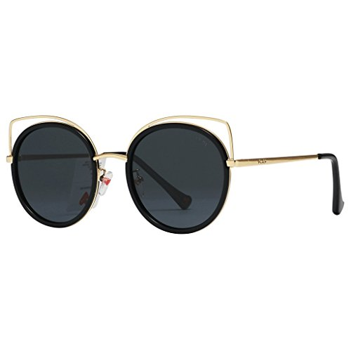 polarizadas sol gato marco de clásico de ojo para de de Gafas haz gato tamaño de Gafas de espejo lujo sol de de de metal de Negro Negro de Color ojo para mujeres gafas mujer doble gran de Wayfarer IqxAwF5