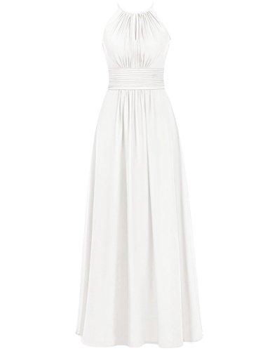 Womens Ivory Bridesmaid Chiffon Sleeveless Wedding Cdress Dresses Halter Long Prom Party dqFntd1Sv