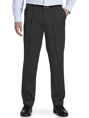 Gold Series by DXL Big and Tall Waist-Relaxer Luster Sateen Hemmed Pleated Suit Pants