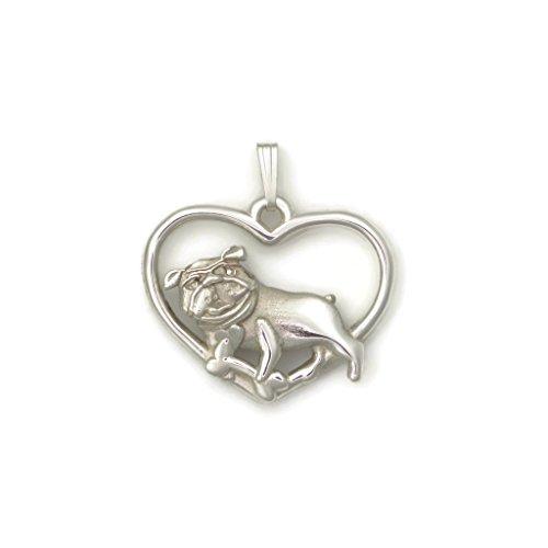 Sterling Silver Bulldog Necklace, Silver Bulldog Pendant fr Donna Pizarro's Animal Whimsey Collection of Fine Bulldog Jewelry by Donna Pizarro Designs