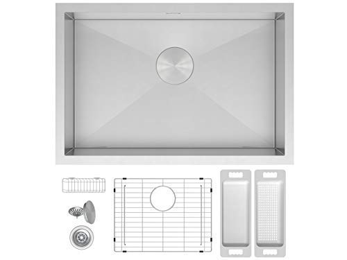 ern Zero Radius Single Bowl Under Mount Stainless Steel Kitchen Sink W. Grate Protector, Caddy, Colander Set, Drain Strainer and Mounting Clips, Fits 36