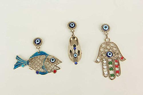 Erbulus Turkish Blue Evil Eye Refrigerator Magnets for Office, Kitchen, Fridge Stickers or Whiteboard Magnets - Fish - Shoe and Hamsa Hand of Fatima Set of 3 (Blue and Silver)