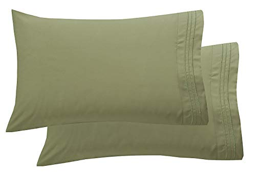 Elegant Comfort Luxury Ultra-Soft 2-Piece Pillowcase Set 1500 Thread Count Egyptian Quality Microfiber Double Brushed-100% Hypoallergenic-Wrinkle Resistant, Standard/Queen Size, Sage/Green