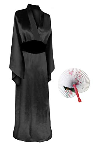 Solid Black Geisha Robe Plus Size Supersize Halloween Costume Basic Kit 1X-2X]()