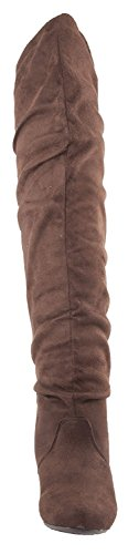 Women's Boot High Brown Stretchy Suede Breeze Nature Thigh TUqwwF