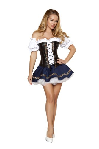 Beer Maiden Costume (Roma Costume 3 Piece Beer Maiden Baby Costume, White/Blue/Black,)