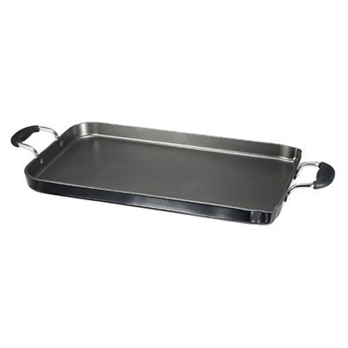 Double Burner Rectangular Griddle (T-fal A92114 / C4061484 Specialty Nonstick Dishwasher Safe 18-Inch x 11-Inch Double Burner Family Griddle Cookware, 18-Inch, Black)