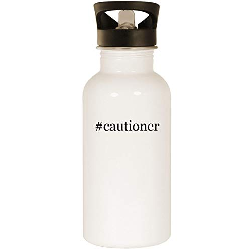 #cautioner - Stainless Steel Hashtag 20oz Road Ready Water Bottle, White -