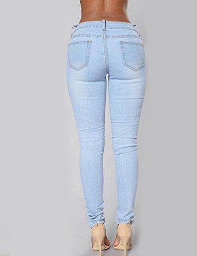 Jeans Jeans Slim Denim De Pantalones Mujer Lápiz Mujeres Flacos Vaqueros Agujeros WanYang Rn60PxqZq