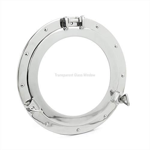 "Nagina International 24"" Premium Silver Lined Aluminum Nickel Coated Nautical Ship's Porthole Window ! Maritime Wall Decor & Exclusive"