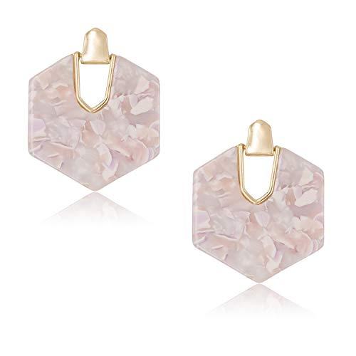 - DESIMTION Acrylic Earrings Tortoise Shell Resin Earrings Statement Marble Acetate Mottled Statement Dangle Earrings for Women (Pink)