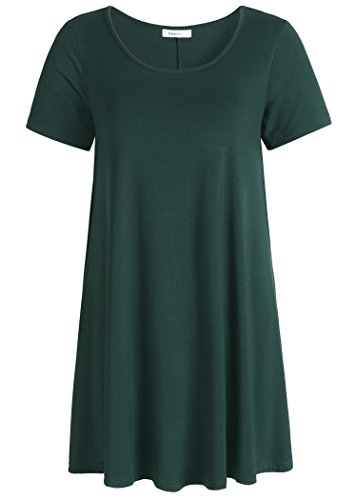 (Esenchel Women's Tunic Top Casual T Shirt for Leggings M Forest Green)