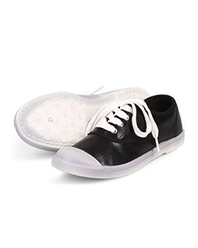 Selvaggia Diva Df41 Donne Metallizzate Cap Toe Classiche Sneaker Lace Up Fashion - Nere