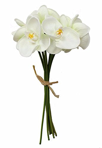 White Orchid Bouquets - Afloral Real Touch Phalaenopsis Orchid Bouquet in Cream White - 14
