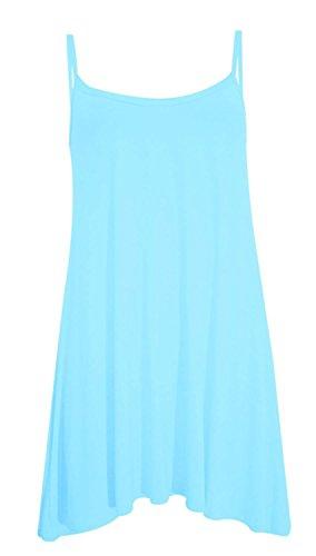 Long Tops Womens Dress Swing Plain Pickle Chocolate Aqua Cami ® Strappy gYCwS0q