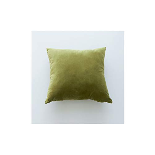 Nordic Velvet Pillow Cover Waist Throw Cushion Cover Simple Solid Color Square Supersoft Bed Car Sofa Decor 4545cm,450mm450mm,Yellow Green ()