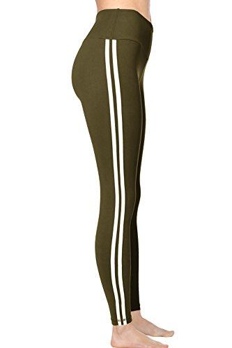 VIV Collection Striped Signature Leggings Yoga Waistband w Hidden Pocket (M, Olive) ()