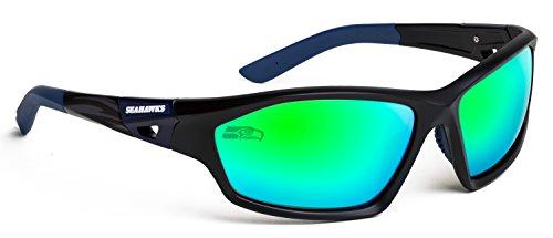 Officially Licensed NFL Sunglasses, Seattle Seahawks, 3D Logo on Temple - 100% UVA, UVB & UVC - Prescription Seattle Sunglasses