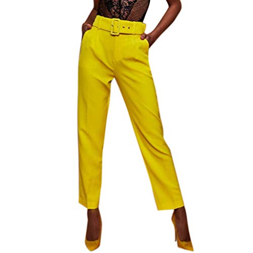 Botrong Pants for Women, Solid High Waisted Loose Pencil Pants Stretch Long Trousers with Pockets Yellow