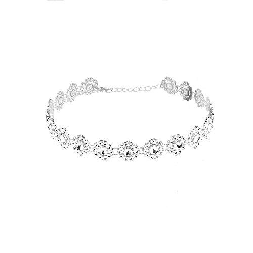 Euone  Valentine, Lady Diamante Choker Necklace Rhinestone Silver Crystal Party Bridal Necklace