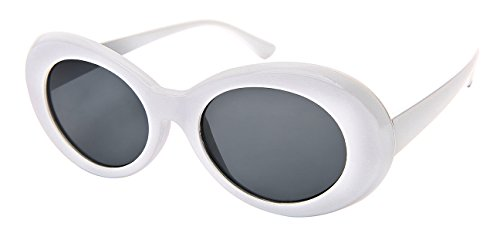 Pin Up Outfits (Edge I-Wear Retro Inspired Plastic Oval Sunglasses with Sold Lens 34107-SD-1(WHT/GY LENS))