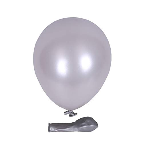 KALOR 100 Pack 5 Inch Pearlescent Latex Balloons Helium Balloons for Birthday Party Wedding Party Baby Shower Decoration Supplies Silver