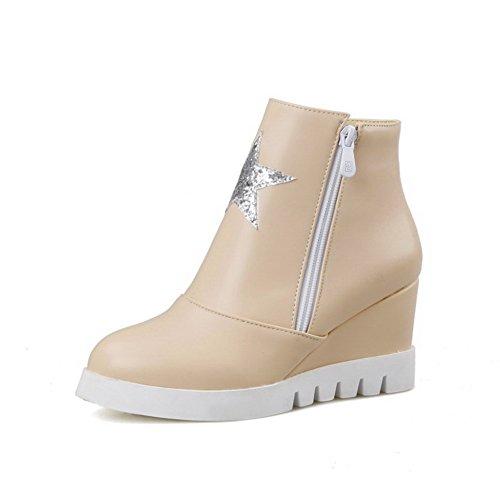 AgooLar Women's PU Low-top Solid Zipper High Heels Boots with Metal Pink WlxkoEg