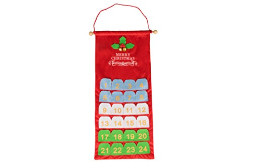 [Christmas 24 Day Hanging Cloth Advent Calendar | Multicolored Merry Christmas Design | Traditional Holiday Christmas Decor Theme | Perfect for Home or Office | Measures 25