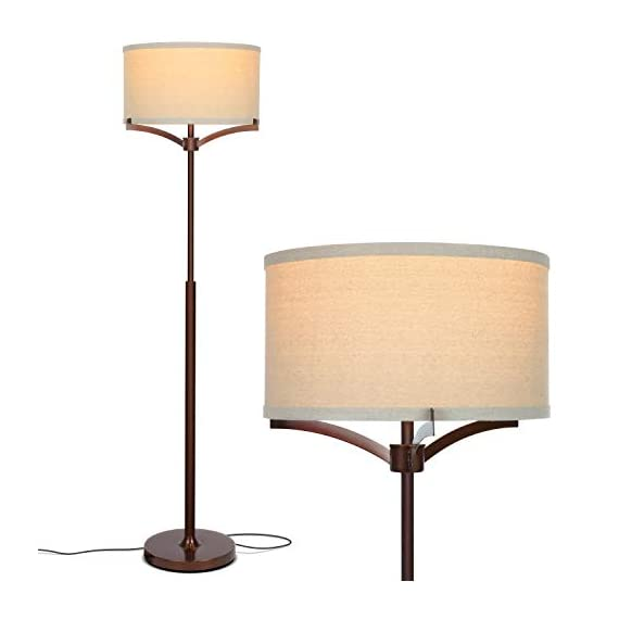 Brightech Elijah Modern Floor Lamp for Bedrooms – Mid Century Free Standing Light for Living Room or Office Bright Lighting — Tall Reading Indoor Pole Lamp with Drum Shade – With LED Bulb – Bronze