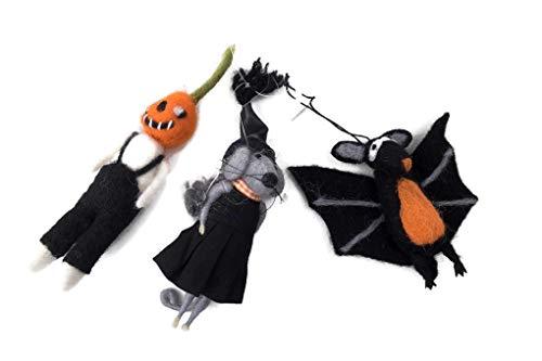 (Delton Set of 3 Halloween Pumpkin Bat Mouse Ornaments Plush)