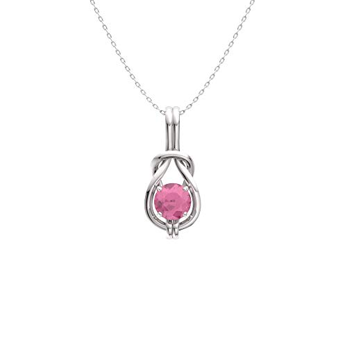 White Gold Pink Sapphire Pendant - Diamondere Natural and Certified Pink Sapphire Infinity Knot Solitaire Necklace in 14k White Gold | 0.42 Carat Pendant with Chain