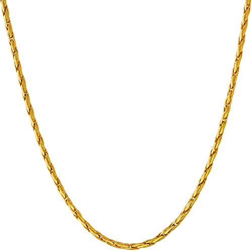 Lifetime Jewelry Gold Necklace for Women & Men [ 2mm Twister Weave Chain ] 20X More Real 24k Than Other Pendant Necklaces - Dainty Yet Solid & Durable with Lifetime Replacement Guarantee (24.0)