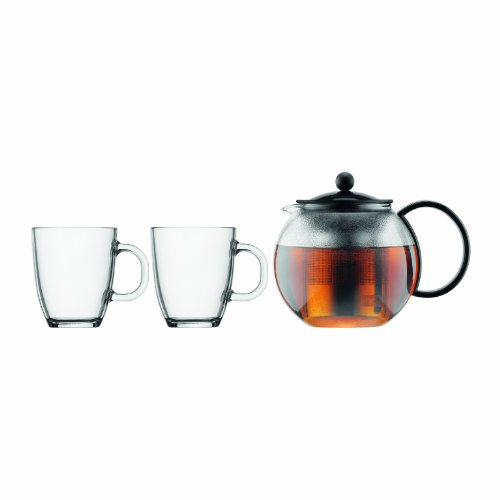 Bodum K1805-01 Assam Set and 2 Mugs Tea Press with Filter, 3