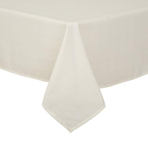 Deconovo Dinner Tartan Plaid Table Cloth Spill Stain Resistant Wrinkle Free Plaid Tablecloth for Outdoor or Indoor Use 54x54 Inch Beige 2pcs]()