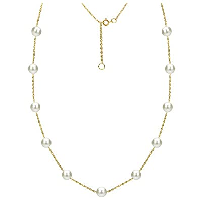 Cheap Tin Cup Station 14K Gold Chain Necklace Cultured Freshwater White Pearl Jewelry for Women 18 inch supplier