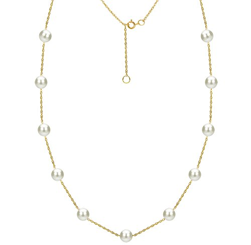 "14k Yellow Gold 8-8.5mm White Freshwater Cultured Pearl Chain Station Necklace, 18"" + 2"" Extender"
