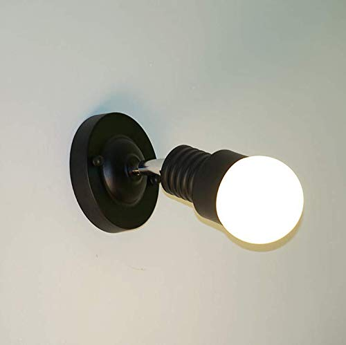 Kirin Minimalist Wall Lamp Modern Bedside Reading Light Metal Fixable Lighting Fixture Bedroom Living Room Corridor (Black) -