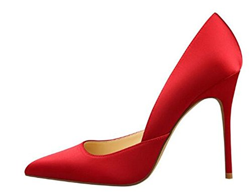 WUIWUIYU Women's Fashion Pointed Toe Stiletto Pump Shoes Red Zd2LRN8Q