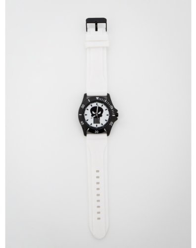 Rubber Dial White - Punisher Black Logo Dial White Rubber Strap Watch