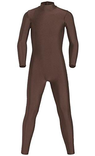 JustinCostume Kids Spandex Turtleneck Full Body Unitard Costume, 16, Brown