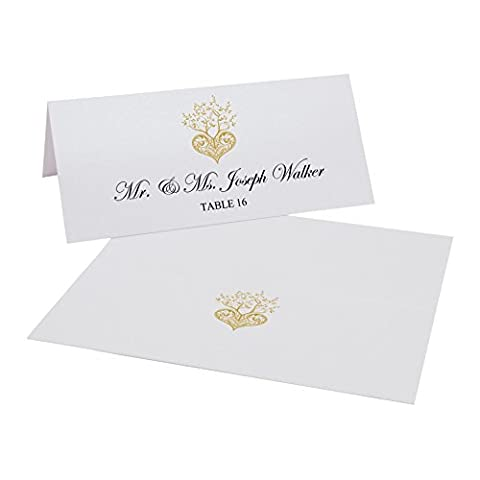 Tree of Life Heart Easy Print Place Cards, Pearl White, Gold, Set of 50 (13 Sheets) - Tree Place Card