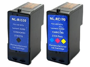 Remanufactured Ink Cartridge for LEXMARK 18C1530 (No.3) and 18C0190 (No.2) Black and Color Printer