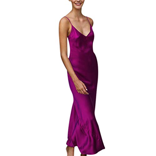 TIFENNY Women's Milk Silk Soft Dresses Fashion Sexy Solid Sleeveless Backless Open Fork Long Strap Slip Formal Dress Purple (Cowl Dress Neck Shift)