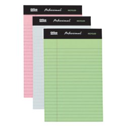 Sheets 50 Top Double Stitched (Office Depot Professional Legal Pad, 5in. x 8in, Assorted Colors, Narrow Ruled, 50 Sheets, 6 Pads/Pack, 99510)