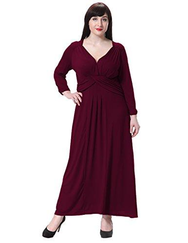 Sue&Joe Women's Maxi Dress Deep V Neck Plus Size Empire Waist Long Evening Gowns, Burgundy, TagsizeL=PLUS 6X